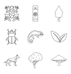 parasite icons set outline style vector image vector image