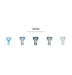 Peeler icon in different style two colored and vector