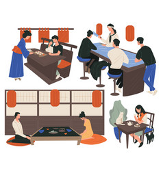 People dining in chinese restaurant eating vector