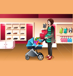 Pregnant woman pushing a stroller full of presents vector