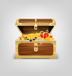 realistic treasure chest composition vector image