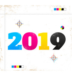 retro poster for new year 2019 vector image