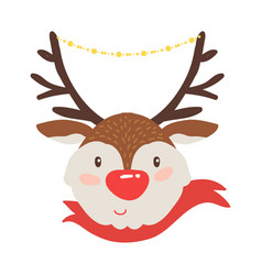 Rudolf deer in red scarf icon vector