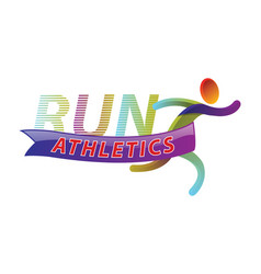 run athletics color sport icon design vector image