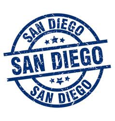 san diego blue round grunge stamp vector image