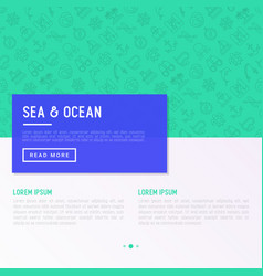 sea and ocean journey concept with thin line icons vector image
