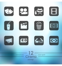 set cinema icons vector image
