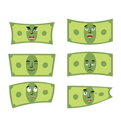 Set money Dollar with emotions Cheerful and angry vector