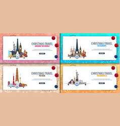 Set of banners christmas travel europe asia vector
