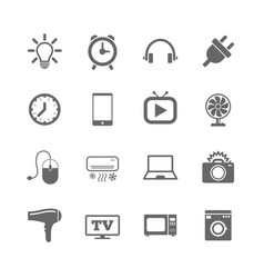 set of electronics home appliances and devices vector image