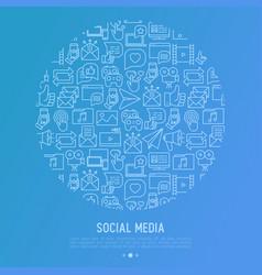 Social media concept in circle vector