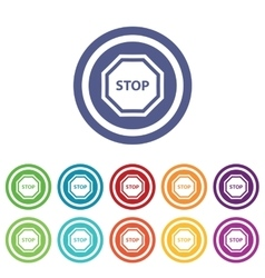 STOP signs colored set vector image