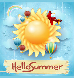 Summer background with big sun and message vector