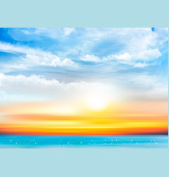 Sunset sky background with transparent clouds and vector