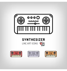 Synthesizer isolated line art icon Modern vector