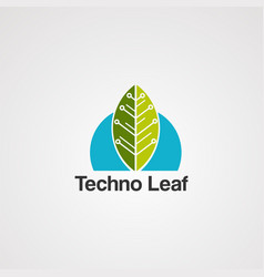 techno leaf logo icon element and template vector image