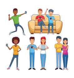 Teenagers with technology vector