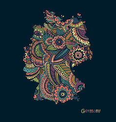Textured map germany hand drawn ethno vector