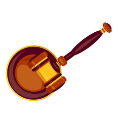 Top view wood gavel icon cartoon style vector