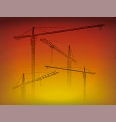 tower construction crane line art on sunset vector image