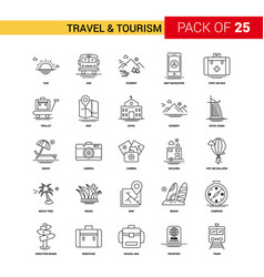 travel and tourism black line icon - 25 business vector image