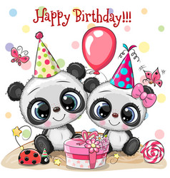 Two cute pandas and ladybug with balloon and vector