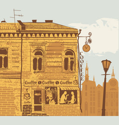 Urban landscape with coffee house and love couple vector
