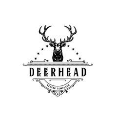 vintage style deer head logo hand vector image