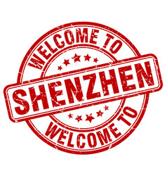 Welcome to shenzhen red round vintage stamp vector