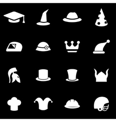 White helmet and hat icon set vector