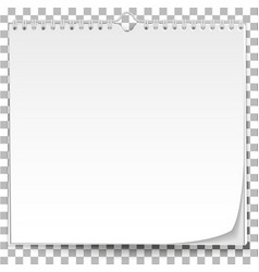 white wall calendar template on transparent vector image