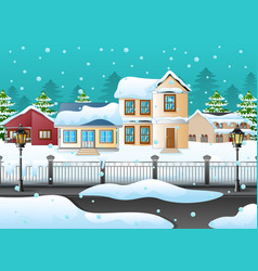 winter landscape with house and snowy on the stree vector image