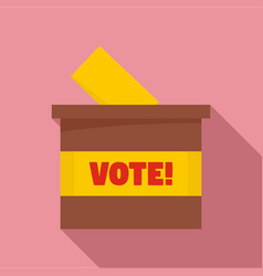 Wood vote box icon flat style vector