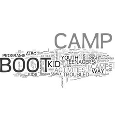 youth group activities boot camp text word cloud vector image vector image