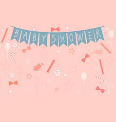 baby shower celebration card design with birds vector image vector image