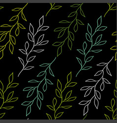 Black seamless pattern with branches vector