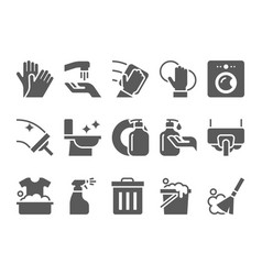 cleaning icons set hygiene tools signs vector image vector image
