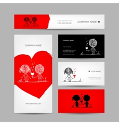 Couple kissing valentine cards for your design vector image vector image