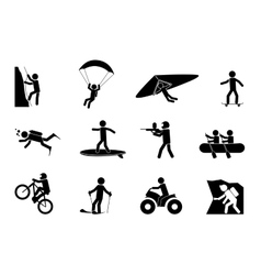 Extreme sports or adventure icons vector image vector image