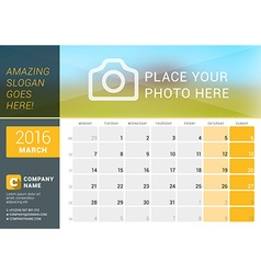 March 2016 desk calendar for 2016 year design vector