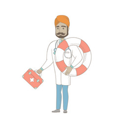 Paramedic holding first aid box and lifebuoy vector