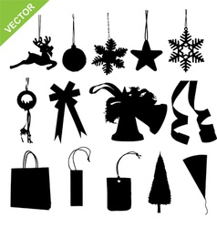 silhouette christmas decoration vector image vector image