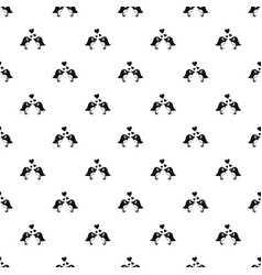 two birds with hearts pattern vector image