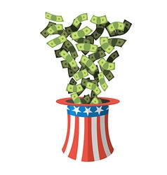 Uncle Sam hat and money American hat Hat for vector image