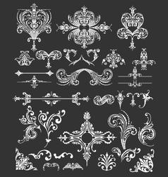 vintage floral frames and lines elements vector image vector image
