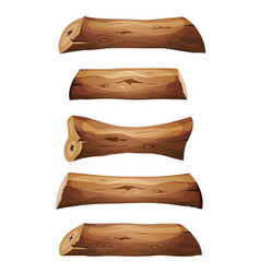 wood logs and planks set vector image