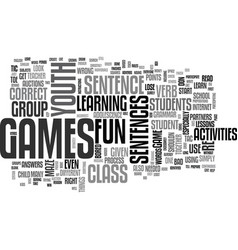 youth group games activities text word cloud vector image vector image