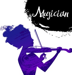 Beautiful musician girl silhouette with violin vector image vector image