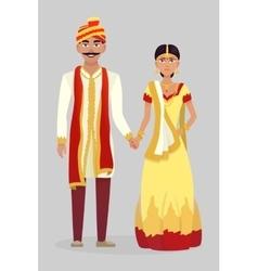 Cartoon Indian wedding couple vector image