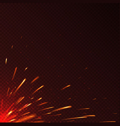 Glowing red fire sparks isolated background vector